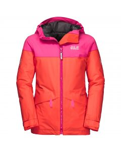 Dziewczęca kurtka narciarciarska POWDER MOUNTAIN JACKET GIRLS orange coral