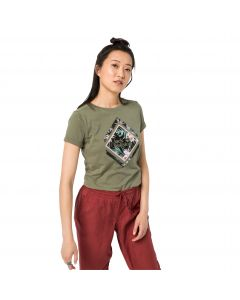 T-shirt damski TROPICAL SQUARE T W khaki