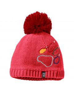 Czapka zimowa dziecięca PAW KNIT CAP KIDS Tulip Red