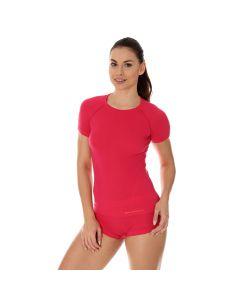Termoaktywna koszulka damska Brubeck Active Wool SS11700 raspberry