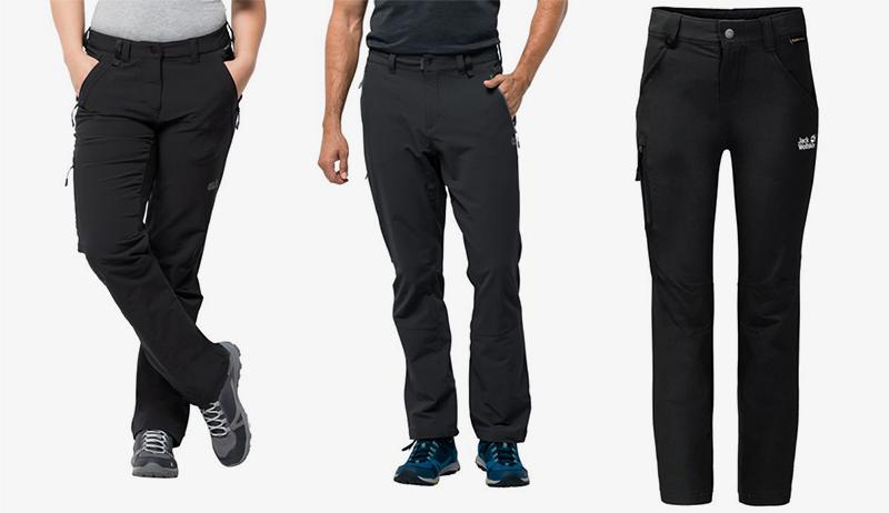 czarne spodnie turystyczne nieprzemakalne z membraną