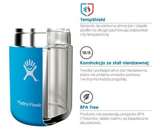 Budowa termosu obiadowego na przykładzie Hydroflask 180Z