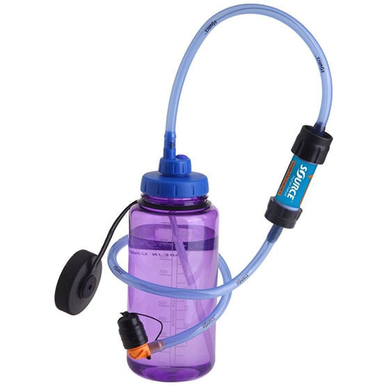 |Zestaw filtrujący Firmy Source pasuje do większości butelek i bidonów, a nawet butelek typu PET