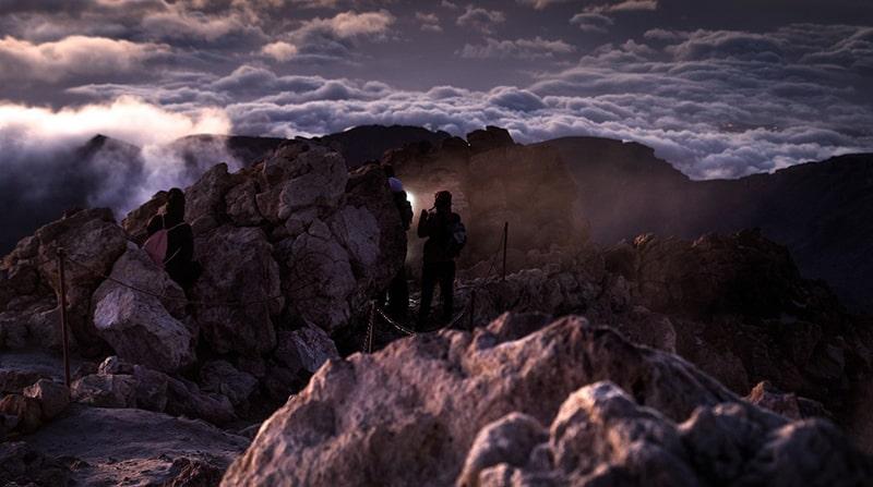 wulkan Teide z latarkami