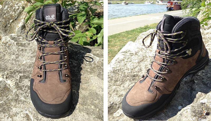 wąska stopa w butach turystycznych