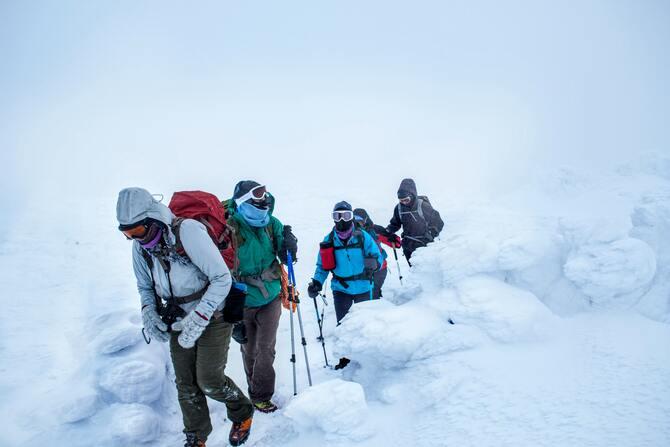 jakie kije trekkingowe w góry |Zimowa przeprawa przez śnieg z kijami trekkingowymi.