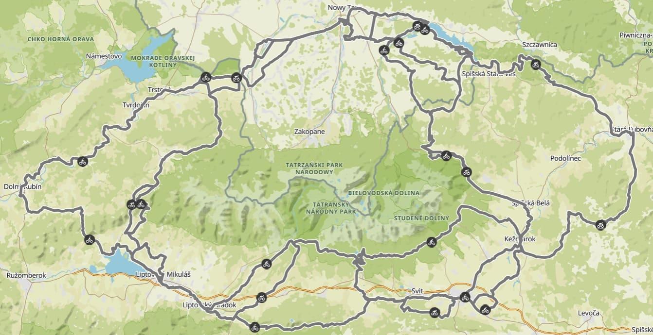 Szlak wokół Tatr mapa