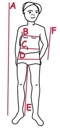 dziecko - schemat wymiarów ciała